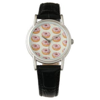 クラシックで黒い革が付いている風味がよいドーナツ 腕時計