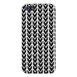 クラシックで黒く及び白いシェブロンのiPhone 5の箱 iPhone SE/5/5sケース