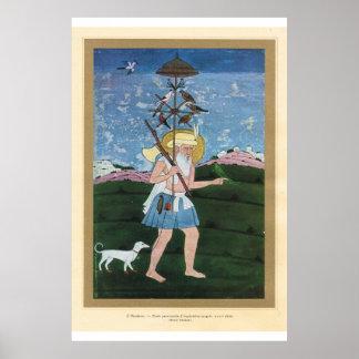 クラシックなアジア芸術Mughal、birdcatcherの18世紀 ポスター