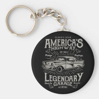 クラシックなアメリカ筋肉車| Hotrodのハイウェー キーホルダー