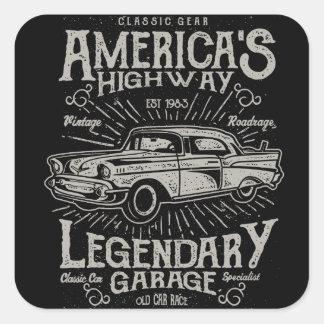 クラシックなアメリカ筋肉車| Hotrodのハイウェー スクエアシール
