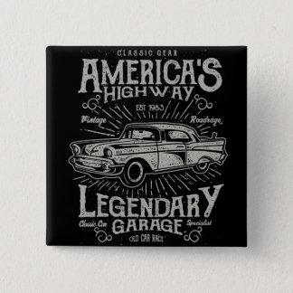 クラシックなアメリカ筋肉車| Hotrodのハイウェー 5.1cm 正方形バッジ