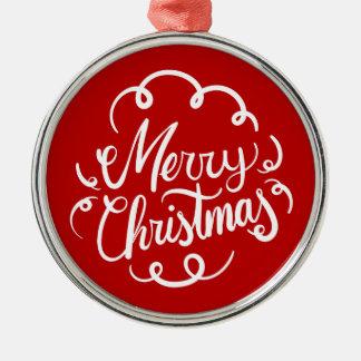 クラシックなアールデコのメリークリスマスのタイポグラフィ メタルオーナメント