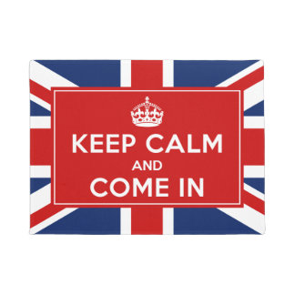 クラシックなイギリスの英国旗-平静を保ち、入って来て下さい ドアマット