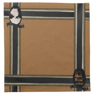 クラシックなカメオ(象牙色かブラウン) (結婚式) ナプキンクロス