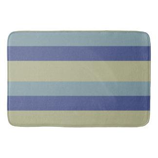 クラシックなカーキ色および青の縞模様 バスマット
