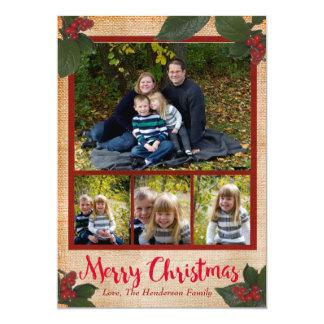 クラシックなクリスマスの果実5x7のクリスマスの写真カード カード