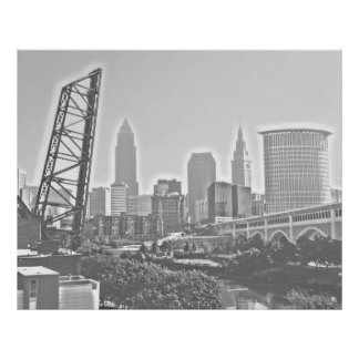 クラシックなクリーブランドの川の眺めのスカイラインポスター ポスター