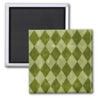 クラシックなコケむした緑のアーガイル柄ので幾何学的なパターン マグネット