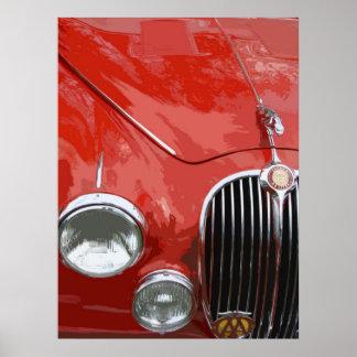 クラシックなジャガーMK.2 (赤い) ポスター