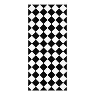 クラシックなダイヤモンドの白黒チェッカー ラックカード