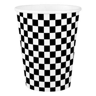 クラシックなチェック模様の競争の旗の点検の白黒 紙コップ