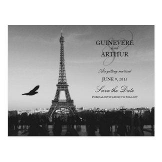 クラシックなパリフランスの結婚式の保存日付 ポストカード