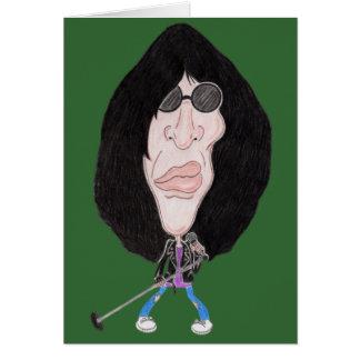 クラシックなパンクロックの80年代のおもしろいな風刺漫画カード カード