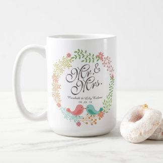 クラシックなマグを結婚している鳥を持つFloral氏及び夫人 コーヒーマグカップ