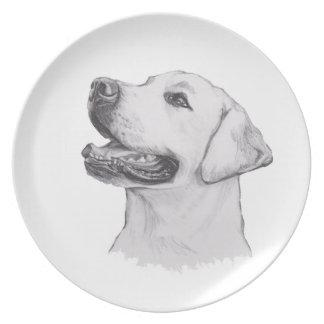 クラシックなラブラドル・レトリーバー犬犬のプロフィールのスケッチ パーティー皿