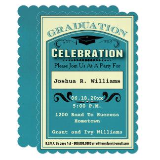 クラシックなヴィンテージの卒業のお祝い 12.7 X 17.8 インビテーションカード