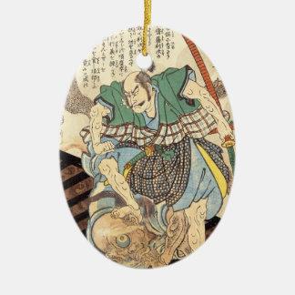 クラシックなヴィンテージの日本のな武士の戦士大将 セラミックオーナメント