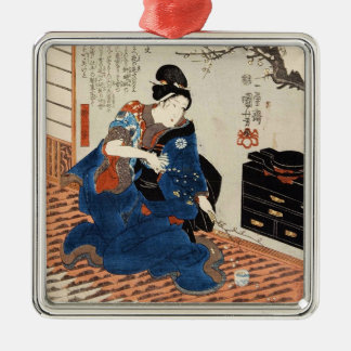 クラシックなヴィンテージの日本の芸者のUtagawaの芸術 メタルオーナメント