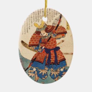 クラシックなヴィンテージの日本のukiyo-eの武士の戦士 セラミックオーナメント