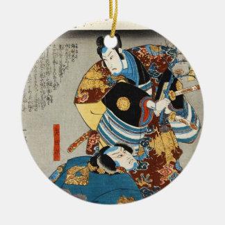クラシックなヴィンテージの日本のukiyo-e 2の武士の芸術 セラミックオーナメント