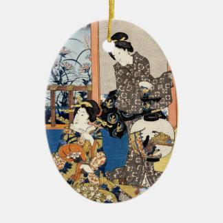 クラシックなヴィンテージの日本のukiyo-e 2の芸者の芸術 セラミックオーナメント