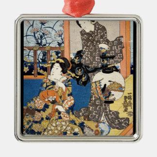クラシックなヴィンテージの日本のukiyo-e 2の芸者の芸術 メタルオーナメント