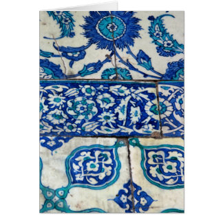 クラシックなヴィンテージのiznikの青および白いタイルパターン カード