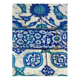 クラシックなヴィンテージのiznikの青および白いタイルパターン ポストカード
