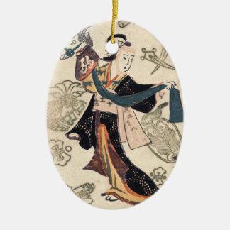 クラシックなヴィンテージのukiyo-eの日本の女性およびパペット セラミックオーナメント
