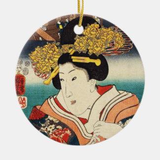 クラシックなヴィンテージのukiyo-eの日本の芸者のポートレート セラミックオーナメント