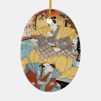 クラシックなヴィンテージのukiyo-eの武士のutagawaの芸術 セラミックオーナメント