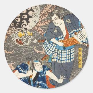 クラシックなヴィンテージのukiyo-eのUtagawaの武士の芸術 ラウンドシール