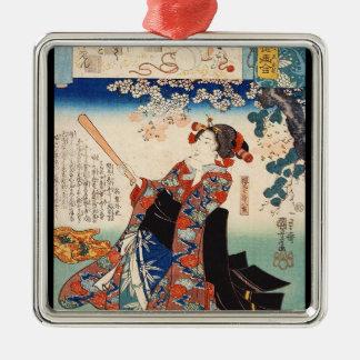 クラシックなヴィンテージのukiyo-e Utagawa古いスクロール芸者 メタルオーナメント