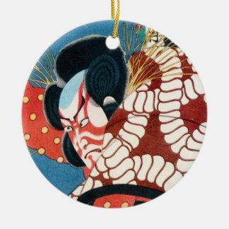 クラシックなヴィンテージのUtagawa日本のkabukiの武士 セラミックオーナメント