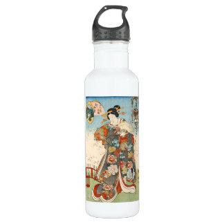 クラシックなヴィンテージのUtagawa日本のukiyo-eの芸者 ウォーターボトル