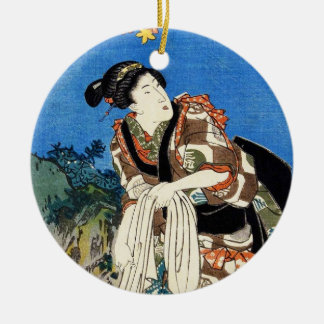 クラシックなヴィンテージのUtagawa日本のukiyo-eの芸者 セラミックオーナメント