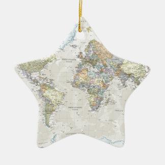 クラシックな世界地図 セラミックオーナメント