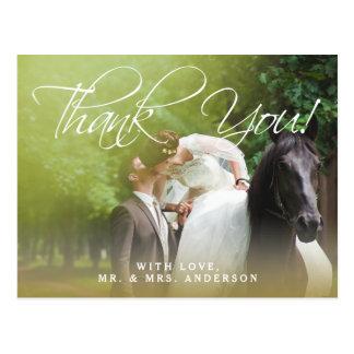 クラシックな原稿|の写真の結婚式は郵便はがき感謝していしています はがき