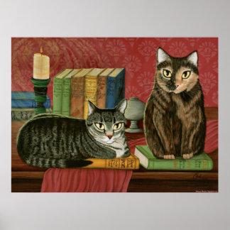 クラシックな文学的な猫Poe、Dickensの火夫、芸術 ポスター