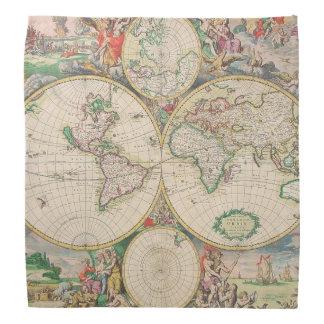 クラシックな旅行ヴィンテージの世界地図 バンダナ