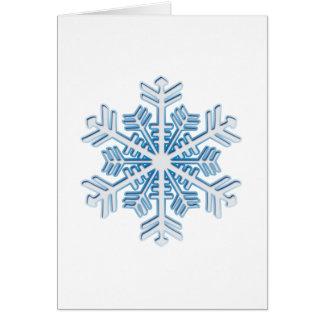 クラシックな氷った青い冬のクリスマスの雪片 カード