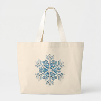 クラシックな氷った青い冬のクリスマスの雪片 ラージトートバッグ