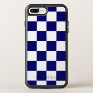 クラシックな海軍および白いチェック模様のパターン オッターボックスシンメトリーiPhone 8 PLUS/7 PLUSケース