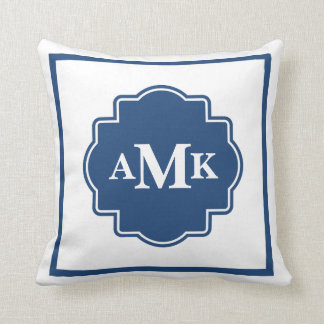 クラシックな濃紺および白のモノグラムの枕 クッション
