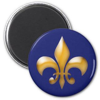 クラシックな濃紺の金ゴールドの(紋章の)フラ・ダ・リの磁石 マグネット
