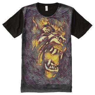 クラシックな狼人間の顔の暗い恐怖芸術 オールオーバープリントT シャツ