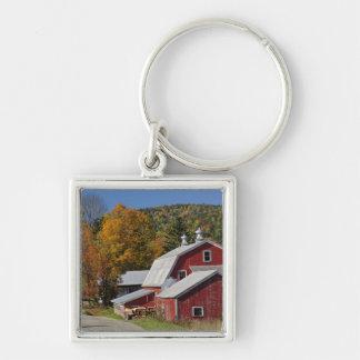 クラシックな田園納屋および道の白い山 キーホルダー