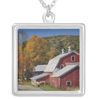クラシックな田園納屋および道の白い山 シルバープレートネックレス