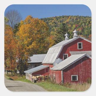 クラシックな田園納屋および道の白い山 スクエアシール